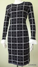 NWT TOMMY HILFIGER Ruffled Crêpe Cuff Windowpane Sweater Dress Size M