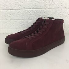 Kenneth Cole Reaction Mens Burgundy High Top Suede Lace Up Sneakers Size 8 NIB