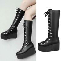 Ladies Lolita Lace Up Mid Calf Boots Platform Goth Riding Boots Shoes Size 34-47