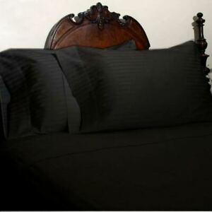 1000 TC Egyptian Cotton Black Striped Bed Skirt Select Drop Length All US Sizes