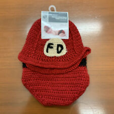 Hand crotched Baby hat & diaper cover Fire Department Costume Two piece set NWT