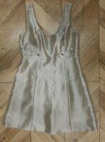 Karen Millen Grey Silver Sparkly pinafore Dress 53% Silk Size 14