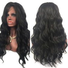 Women Natural Black Long Curly Wavy Synthetic Hair Lace Front Cosplay Wigs. Kit