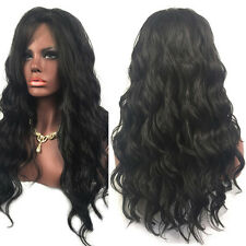 Women Natural Black Long Curly Wavy Synthetic Hair Lace Front Cosplay Wigs·Kit