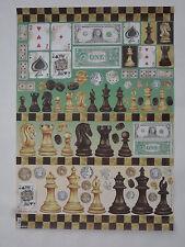 papier découpage technique serviette (thème: cartes, échec, domino ) 68X48cm
