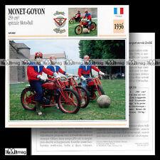 #029.07 MONET-GOYON 250 Special MOTOBALL 1936 Fiche Moto Motorcycle Card