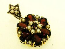 CP115 Genuine 9ct Solid Gold Natural Garnet & Pearl Blossom Cluster Pendant