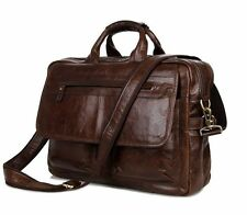 Men Real Leather Travel Shoulder 17'' Laptop Document Briefcase Portfolio Case