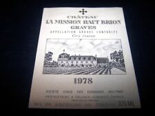 etiquette vin Mission haut brion 1978 37.5CL original wine label wein etikett