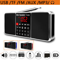 Portable Stereo FM Radio Audio Dual Speaker USB/TF/AUX-IN/BT Clock LED Screen