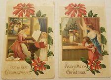 2- Vintage c1911 Postcards Santa at Window w/Mother & Daughter-Waving + At Piano