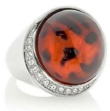 Stately Steel Animal Print Glass Stone and CZ Ring SZ 6
