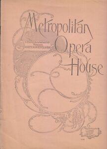 Opera Programme 1895 Met NYC Samson et Dalila Francesco Tamagno Mantelli Plancon