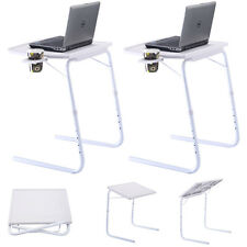 2 x Table Adjustable Folding Drawing Laptop Desk Tray Home Office Cup Holder
