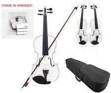 Violino 4/4 Bianco Legno Massello Custodia Accessori Corde di ricambio OMAGGIO