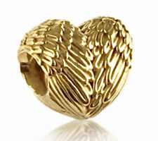 Genuine Pandora Angelic Feathers Silver Charm 14K Gold Plated 791751 Authentic