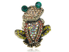 Retro Gold Tone Red Yellow Topaz Crystal Rhinestone Curious Frog Toad Ring