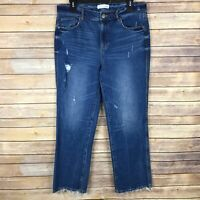 LOFT Womens Jeans Cotton Stretch Vintage Straight Leg High Rise Distressed 8