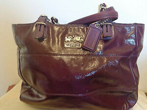 Coach Purple Patent Leather Tribeca East West Tote Hand Bag 14123