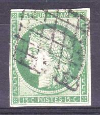 "FRANCE STAMP TIMBRE N° 2 "" CERES 15c VERT 1850 "" OBLITERE TB SIGNE A VOIR  P306"