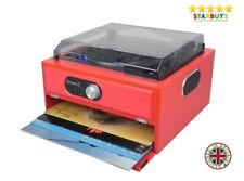 Steepletone Record Player Stereo with Built in Speakers and Vinyl LP Storage Red