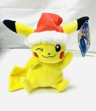 "Tomy Pokemon Pikachu Stuffed Plush Toy with Santa Hat 9"" Christmas BRAND NEW"