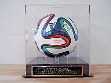Soccer Ball Display Case With A Lionel Messi 2014 World Cup Engraved Nameplate