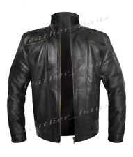Stylish Jacket Driver Motorcycle Bomber Biker Vintage Genuine Leather Men's 530