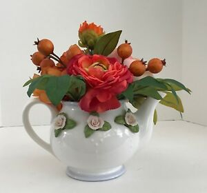 White with Raised Pink Roses Telaflora Gift Teapot Orange Flowers