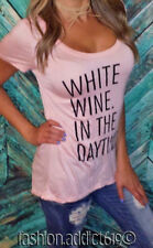 WHITE WINE IN THE DAYTIME brunch pink black jersey long tunic t-shirt women's L
