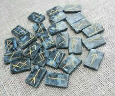 Viking Runes of labradorite with blue iridescence with linen bag.25 Runestones