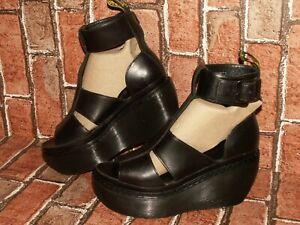 Dr Martens BESSIE leather platform wedges sandals uk 4 eu 37 us 6 Doc#522