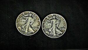 1941-d & `1941- Walking Liberty .900 silver half dollar pair at V.F. condition