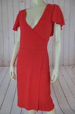 Calvin Klein Dress 4 Orangey Red Fine Knit Pullover Rayon Spandex Stretch CHIC!