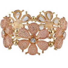 Lux Accessories Gold Tone Light Peach Blush Flower Floral Stretch Bracelet