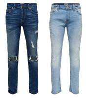ONLY & SONS Men's Ripped Jeans Stretch Slim Fit Branded Pants Jeans Blue 28-36