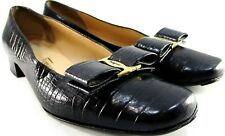 Ferragamo Women Leather Shoes Size 4.5 B Black Brass Logo Leather Insoles Italy
