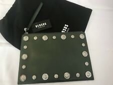 VERSUS VERSACE OLIVE ALL OVER SILVER LOGO EMBELLISHMENTS CLUTCH LEATHER XL BAG