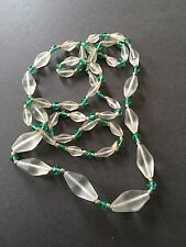 ART DECO GLASS BEAD NECKLACE GREEN AND FROSTED FLAPPER STYLE COSTUME JEWELLERY
