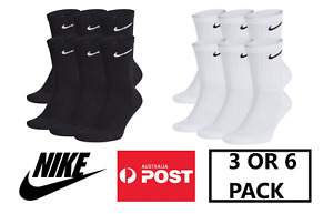 NIKE Men's Everyday Cotton Cushioned Performance Training Crew Socks 3 or 6 Pack