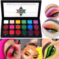 18 Shades Neon Eye Shadow Palette Powder Pigmente Matte Makeup Beauty Colour UK