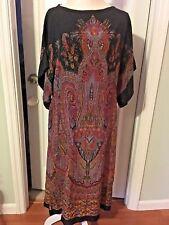 UMI SOO YUNG LEE SILK DRESS Size 8 Vtg 1977 Kimono Style Mid Calf