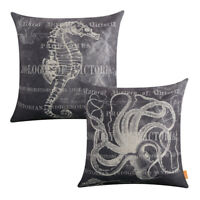 Ocean Seahorse Sea Animals Cotton Linen Throw Pillow Case Cushion Cover Octopus