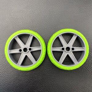 "2 Knex Narrow Green Motorcycle Tires Wheels 2.25"" with Gray 6 Spoke K'nex Parts"