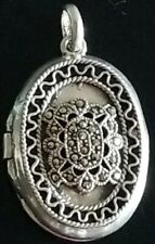 VTG STERLING SILVER FAS MARCASITE HINGED LOCKET CHARM PENDANT FOR PICTURE