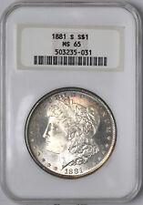 1881-S Morgan Silver Dollar Old Fat Holder Gem $1 - NGC MS65 -
