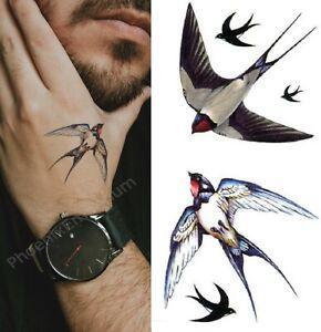 Temporary Tattoo Double Swallow Bird Fake Body Art Sticker Waterproof Ladies Men