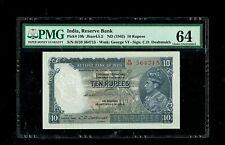 British India | 10 Rs, C D Deshmukh | 1943 |  PICK#19b | PMG-64