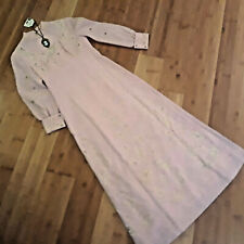 sz S Victorian Dickens Emma day dress Empire waist pink poly flowers cameo