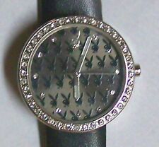 PLAYBOY Fashion Watch CRYSTALS BLACK & DIAMONDS LOOK LADIES  Black leather band
